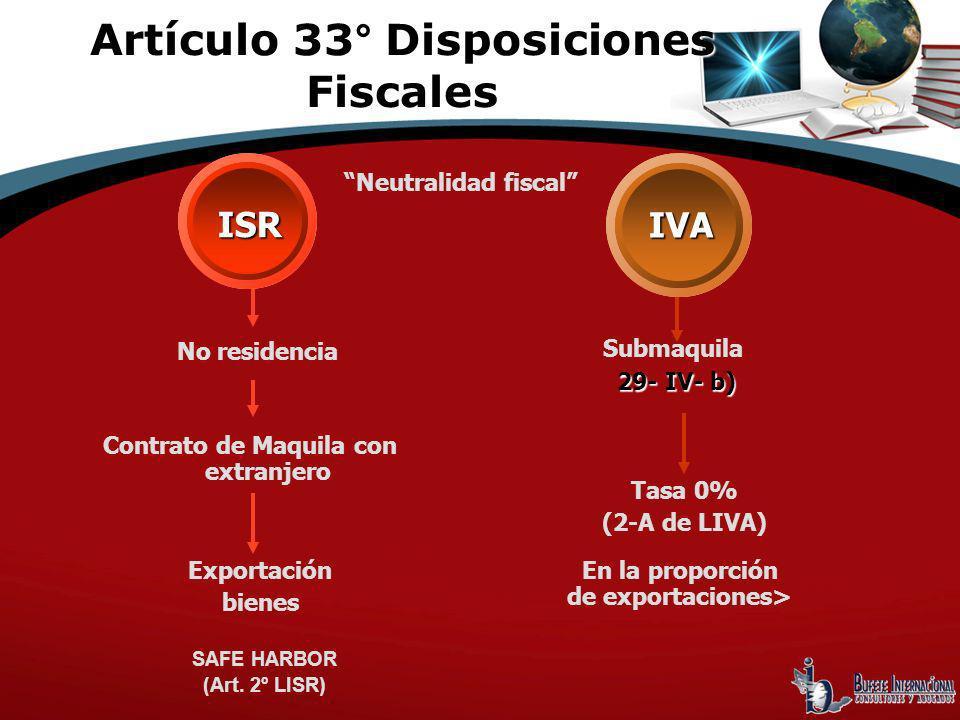 No residencia Contrato de Maquila con extranjero Exportación bienes SAFE HARBOR (Art. 2º LISR) Submaquila 29- IV- b) ISR IVA Neutralidad fiscal Tasa 0