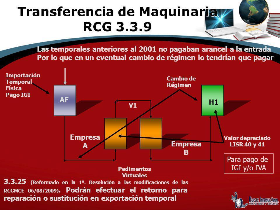 Importación Temporal Física Pago IGI Cambio de Régimen Pedimentos Virtuales AF H1 V1 Valor depreciado LISR 40 y 41 Las temporales anteriores al 2001 n