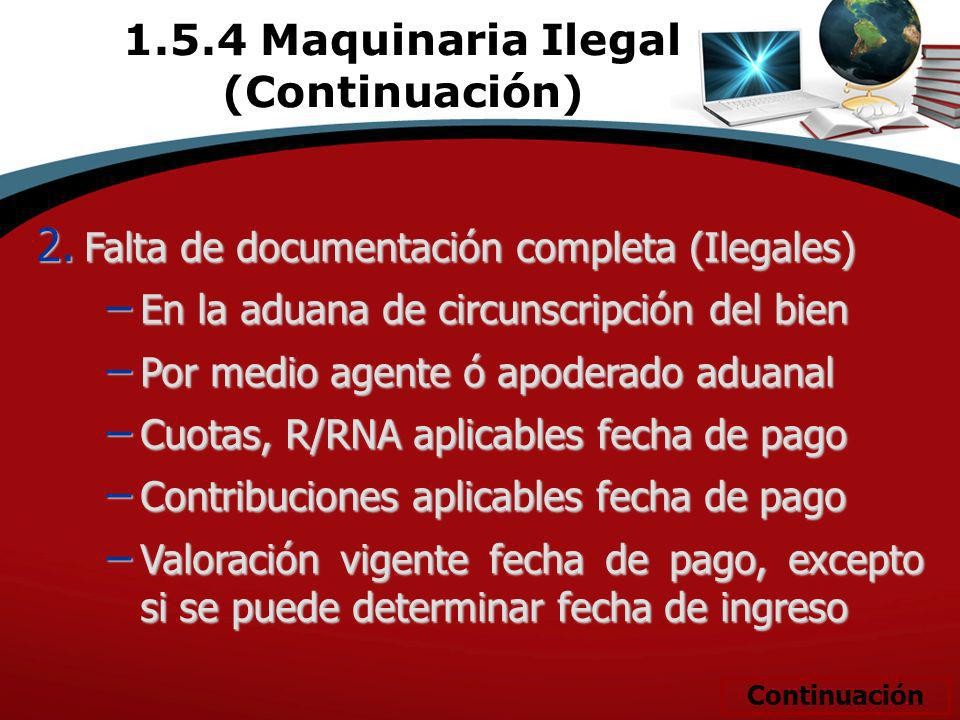 2. Falta de documentación completa (Ilegales) En la aduana de circunscripción del bien En la aduana de circunscripción del bien Por medio agente ó apo