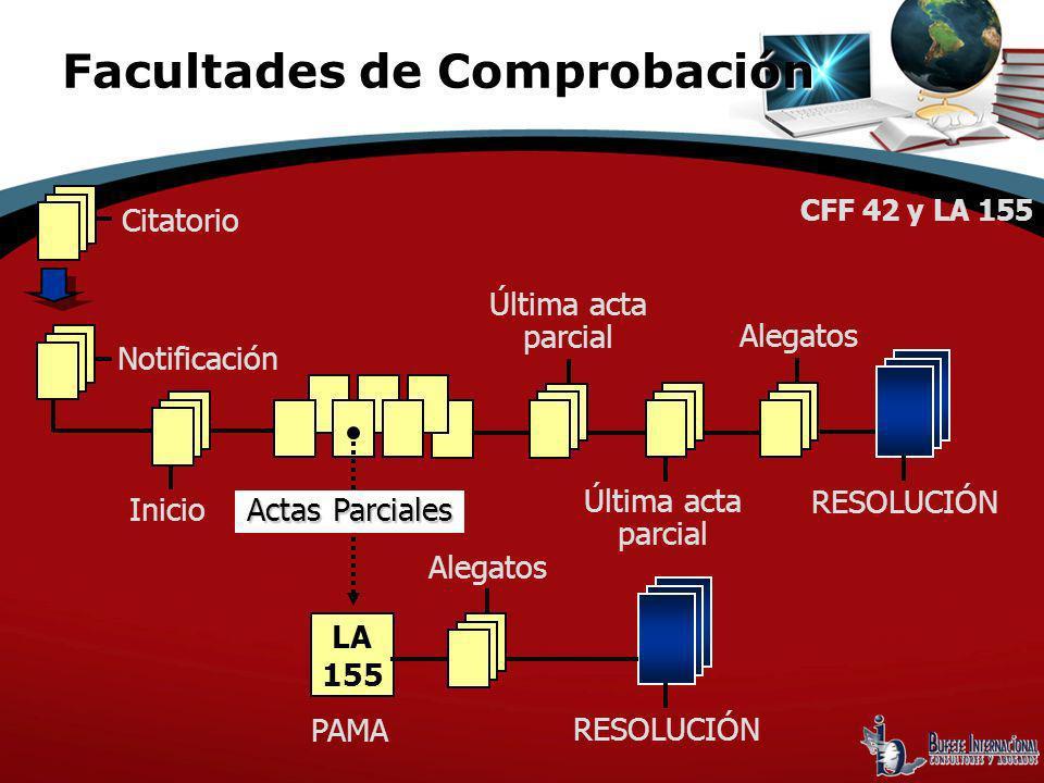 Citatorio Notificación Inicio Actas Parciales CFF 42 y LA 155 Última acta parcial Alegatos RESOLUCIÓN LA 155 PAMA Alegatos RESOLUCIÓN Facultades de Co