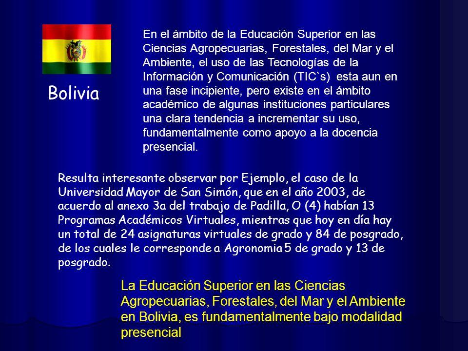Bolivia En el ámbito de la Educación Superior en las Ciencias Agropecuarias, Forestales, del Mar y el Ambiente, el uso de las Tecnologías de la Inform