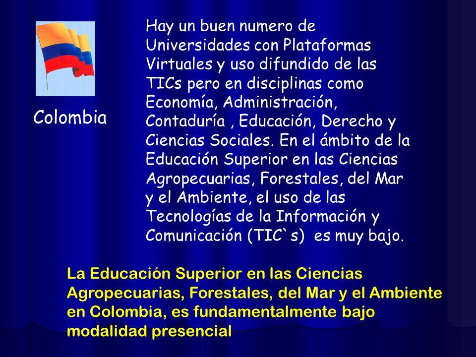 Colombia Hay un buen numero de Universidades con Plataformas Virtuales y uso difundido de las TICs pero en disciplinas como Economía, Administración,