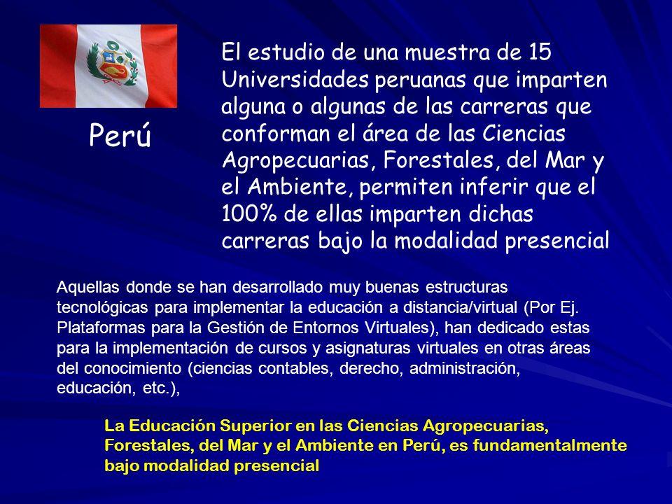 Perú El estudio de una muestra de 15 Universidades peruanas que imparten alguna o algunas de las carreras que conforman el área de las Ciencias Agrope