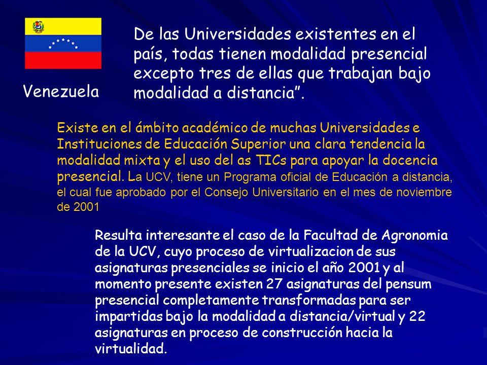 Venezuela De las Universidades existentes en el país, todas tienen modalidad presencial excepto tres de ellas que trabajan bajo modalidad a distancia.