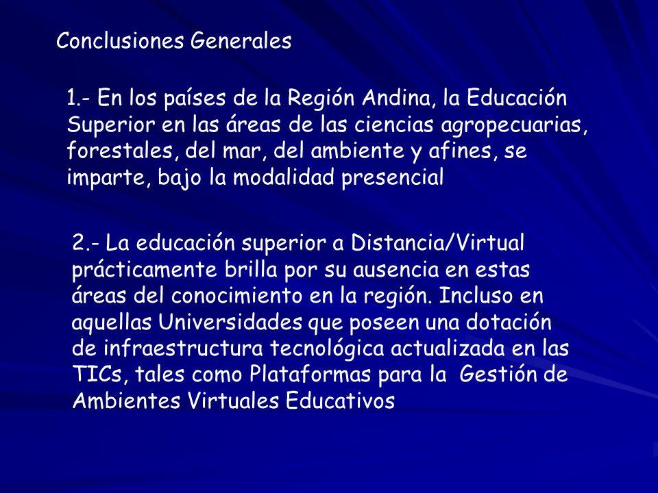 Conclusiones Generales 1.- En los países de la Región Andina, la Educación Superior en las áreas de las ciencias agropecuarias, forestales, del mar, d