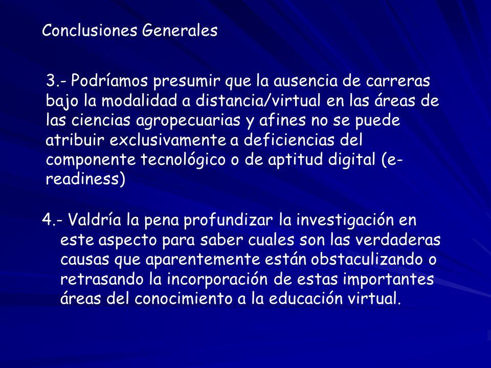 Conclusiones Generales 3.- Podríamos presumir que la ausencia de carreras bajo la modalidad a distancia/virtual en las áreas de las ciencias agropecua