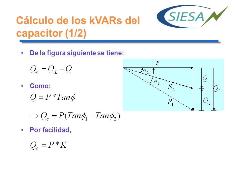 Cálculo de los kVARs del capacitor (1/2) De la figura siguiente se tiene: Como: Por facilidad,
