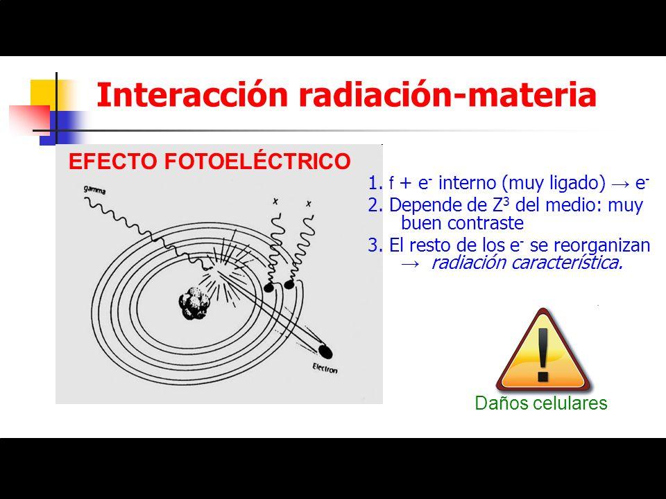 Interacción radiación-materia EFECTO FOTOELÉCTRICO 1. f + e - interno (muy ligado) e - 2. Depende de Z 3 del medio: muy buen contraste 3. El resto de