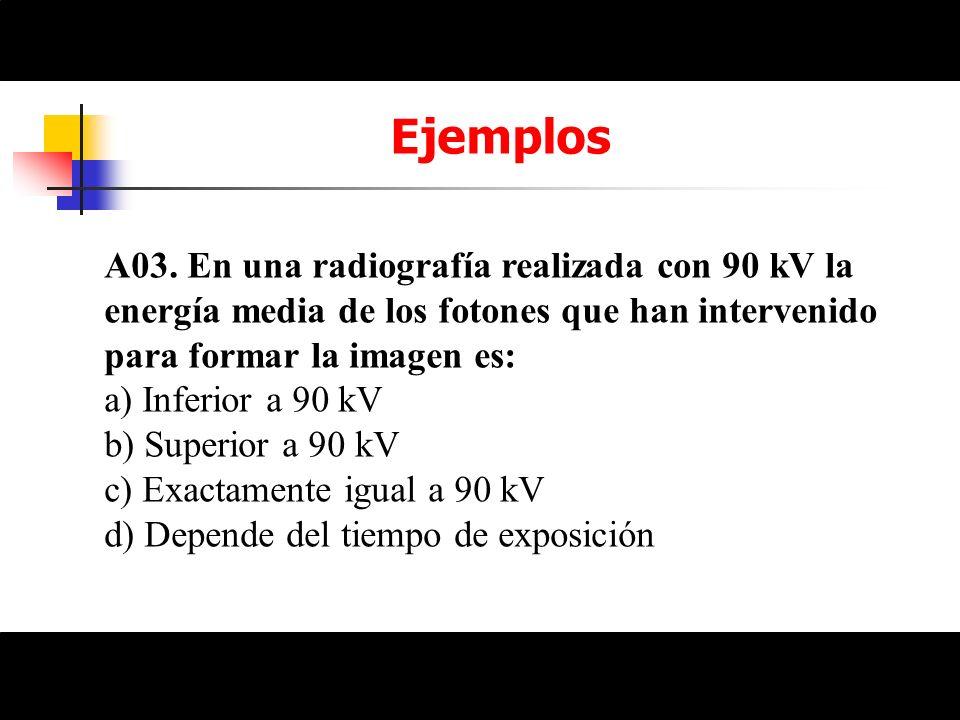 Ejemplos A03. En una radiografía realizada con 90 kV la energía media de los fotones que han intervenido para formar la imagen es: a) Inferior a 90 kV