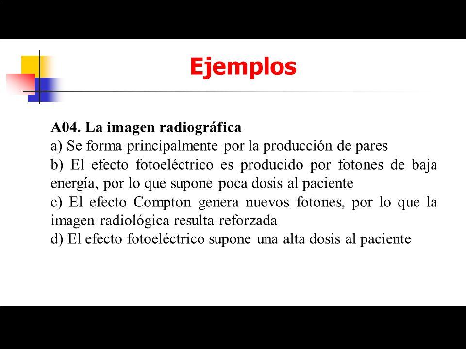 Ejemplos A04. La imagen radiográfica a) Se forma principalmente por la producción de pares b) El efecto fotoeléctrico es producido por fotones de baja