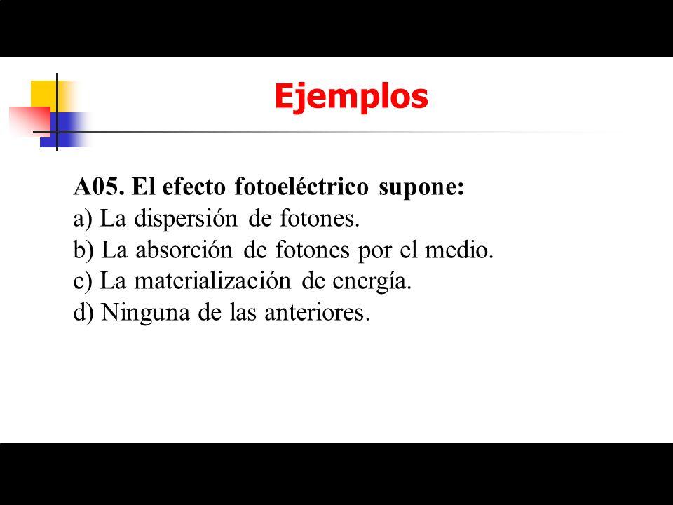 Ejemplos A05. El efecto fotoeléctrico supone: a) La dispersión de fotones. b) La absorción de fotones por el medio. c) La materialización de energía.
