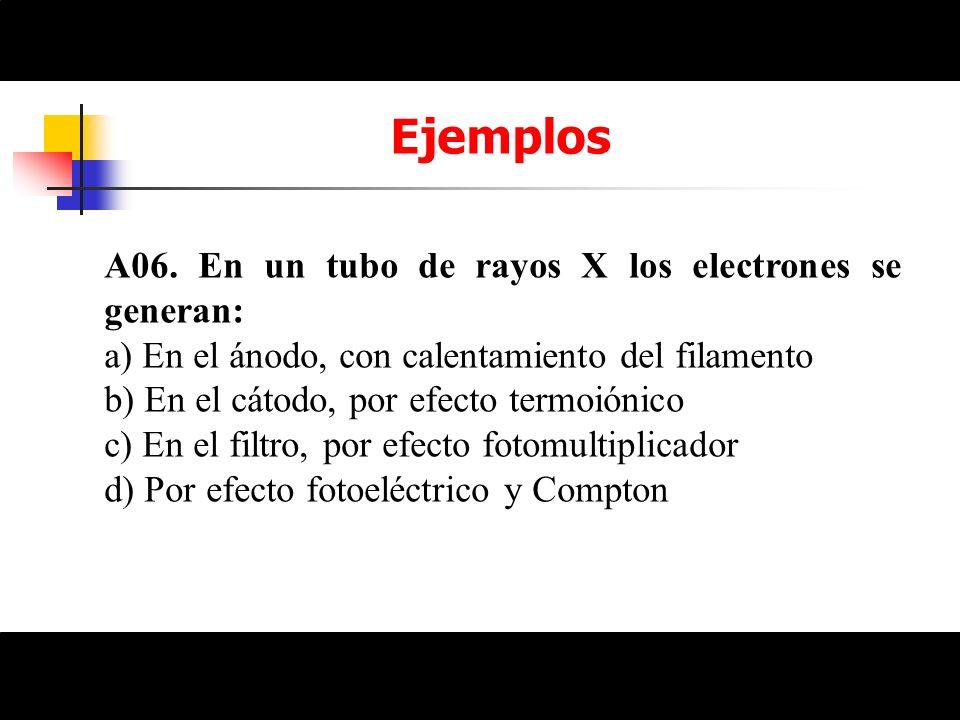 Ejemplos A06. En un tubo de rayos X los electrones se generan: a) En el ánodo, con calentamiento del filamento b) En el cátodo, por efecto termoiónico