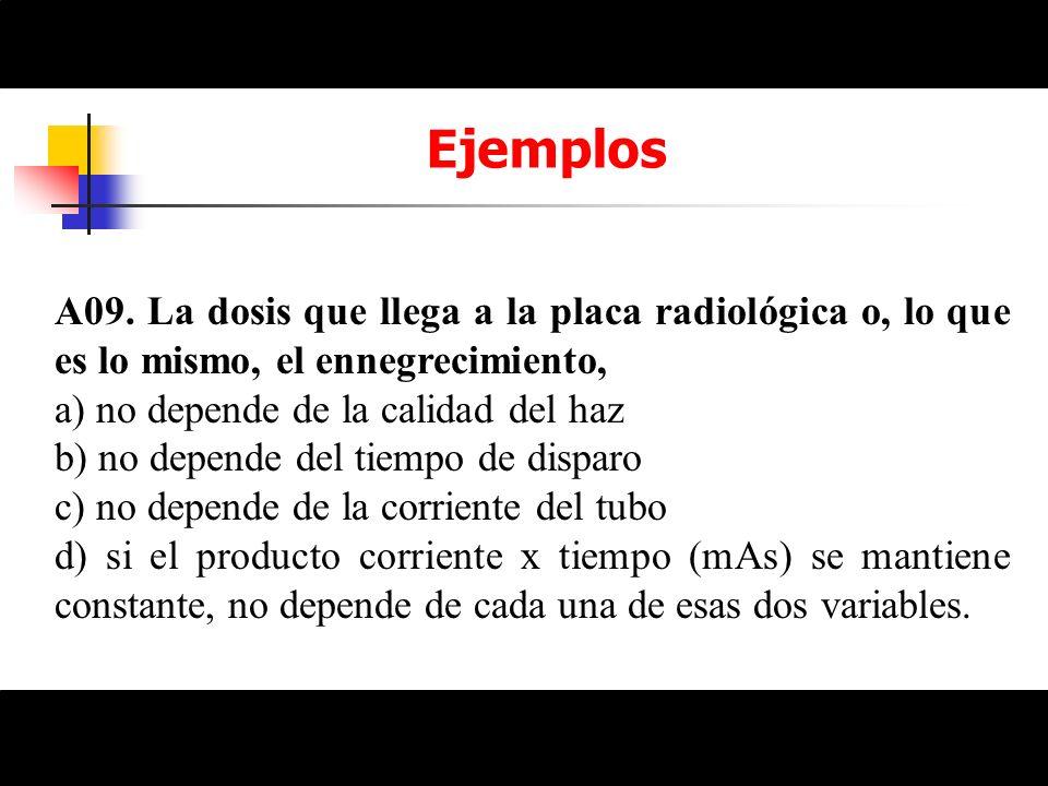 Ejemplos A09. La dosis que llega a la placa radiológica o, lo que es lo mismo, el ennegrecimiento, a) no depende de la calidad del haz b) no depende d