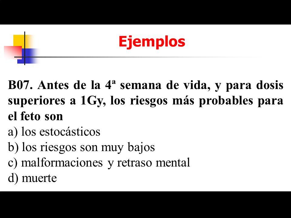 Ejemplos B07. Antes de la 4ª semana de vida, y para dosis superiores a 1Gy, los riesgos más probables para el feto son a) los estocásticos b) los ries