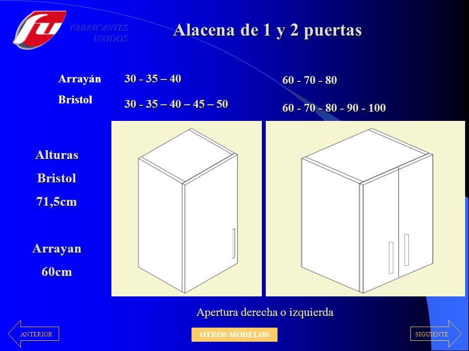 Alacena de 1 y 2 puertas 30 - 35 – 40 – 45 – 50 AlturasBristol71,5cmArrayan60cm Apertura derecha o izquierda 60 - 70 - 80 - 90 - 100 30 - 35 – 40 60 - 70 - 80 Arrayán Bristol SIGUIENTEANTERIOR OTROS MODELOS