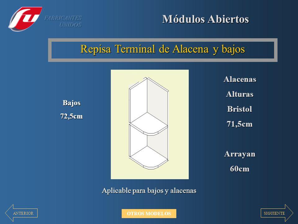 Módulos Abiertos Repisa Terminal de Alacena y bajos Aplicable para bajos y alacenas Bajos72,5cm AlacenasAlturasBristol71,5cmArrayan60cm SIGUIENTEANTERIOR OTROS MODELOS