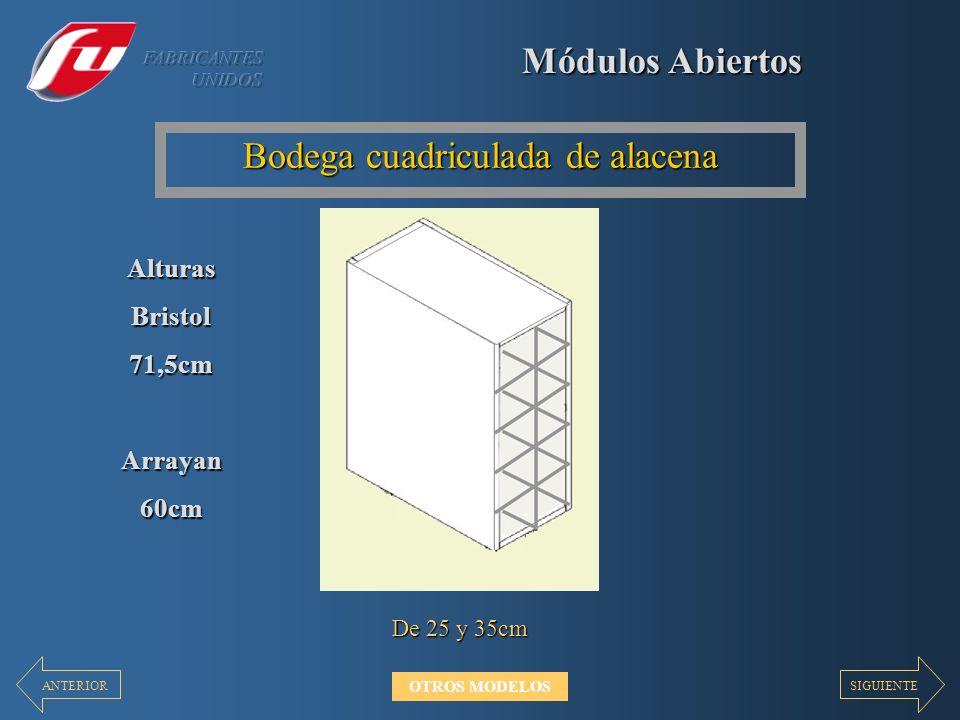 Módulos Abiertos Bodega cuadriculada de alacena De 25 y 35cm AlturasBristol71,5cmArrayan60cm SIGUIENTEANTERIOR OTROS MODELOS