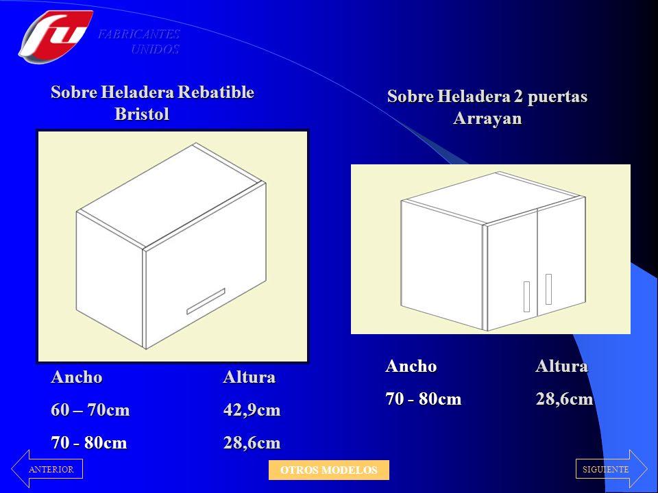 Sobre Heladera Rebatible Bristol Bristol Ancho 60 – 70cm 28,6cm 28,6cm 70 - 80cm Altura 42,9cm 42,9cm Sobre Heladera 2 puertas Arrayan Ancho 70 - 80cm Altura 28,6cm 28,6cm SIGUIENTEANTERIOR OTROS MODELOS