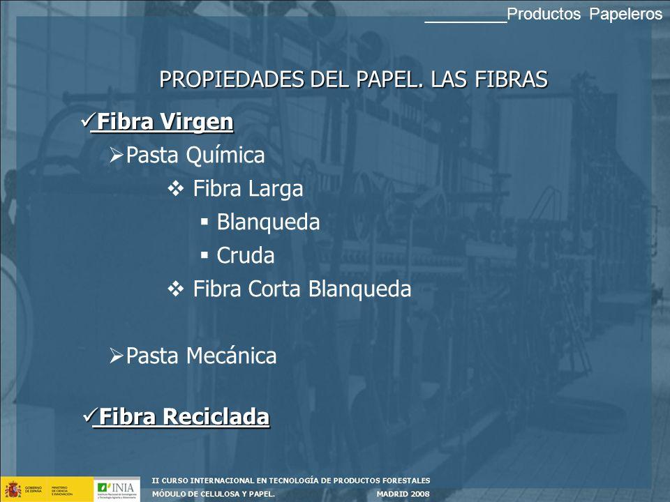 REQUISITOS DE LOS PRODUCTOS PAPELEROS PROPIEDADES DEL PAPEL DEPENDENCIA Proceso de fabricación. Estructura, Acabado Composición fibrosa (Tipo de fibra