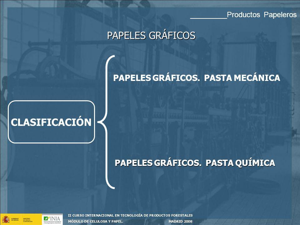 CRITERIOS DE CLASIFICACIÓN PAPELES GRÁFICOS Tipo de Fibra Tipo de Acabado Uso Final: Producto acabado Pasta mecánica Pasta química En máquina Calandra