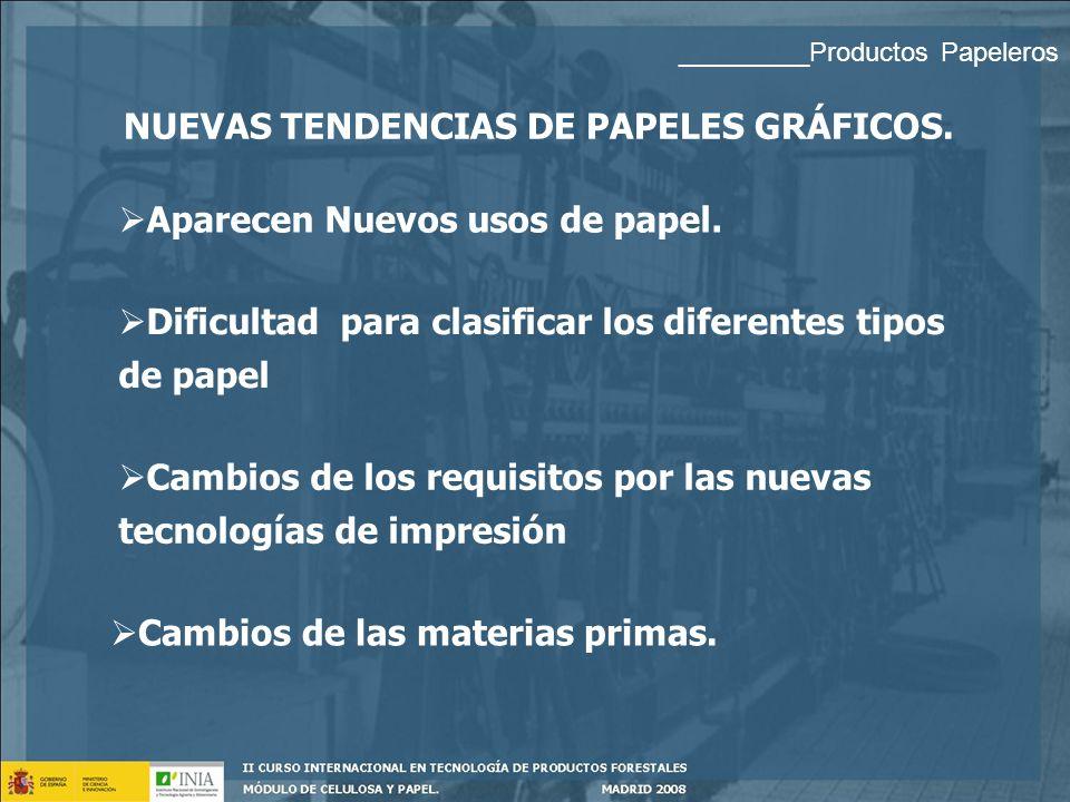PAPELES GRÁFICOS. PASTA QUÍMICA 3. ESPECIALES Papel fotocopia: para impresión sin impacto. Gramaje: 70 – 90 g/m 2 Blancura 80 % - 96 % Muy Importante: