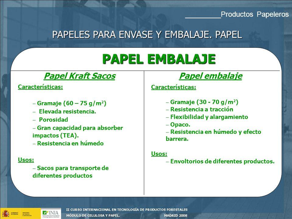 CLASIFICACIÓN Papel: Pasta química cruda de coníferas (kraft sacos) Cartoncillo: productos multicapas Cartón ondulado: Varias hojas lisas de papel que