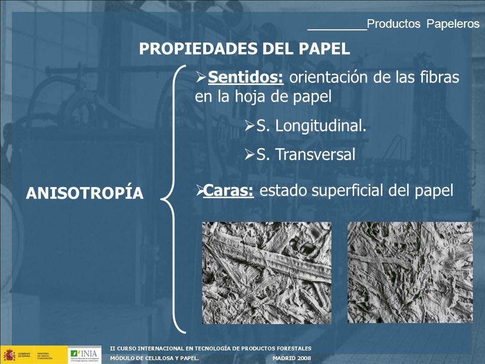 PROPIEDADES DEL PAPEL _________Productos Papeleros