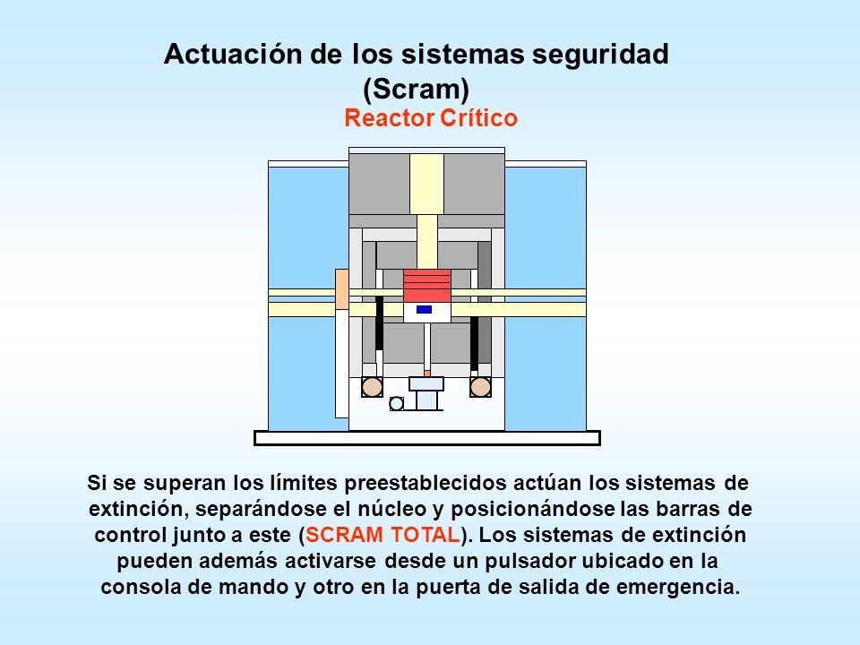 Ingreso de una muestra a irradiaren en el canal lateral inferior. Unión del Núcleo para obtención de masa crítica. Desplazamiento de la primera barra