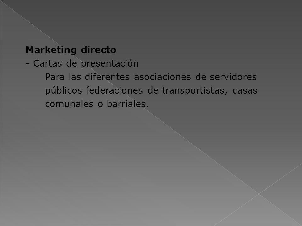 Marketing directo - Cartas de presentación Para las diferentes asociaciones de servidores públicos federaciones de transportistas, casas comunales o b