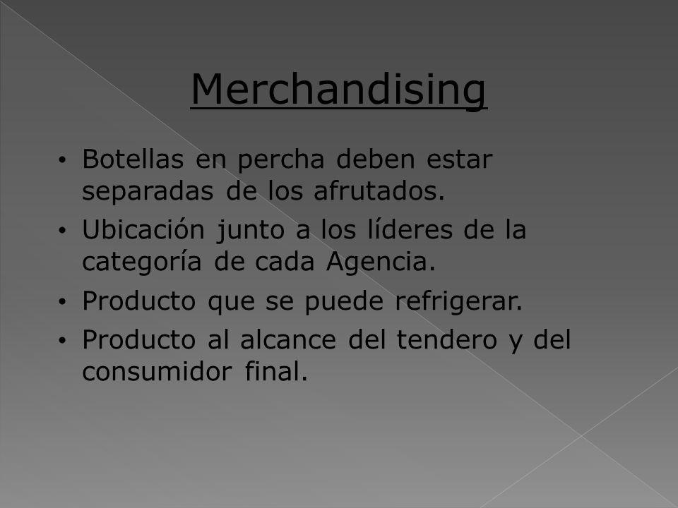 Merchandising Botellas en percha deben estar separadas de los afrutados. Ubicación junto a los líderes de la categoría de cada Agencia. Producto que s