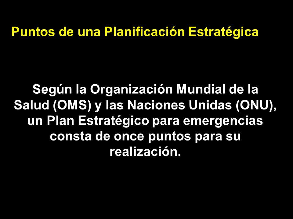Puntos de una Planificación Estratégica Según la Organización Mundial de la Salud (OMS) y las Naciones Unidas (ONU), un Plan Estratégico para emergenc