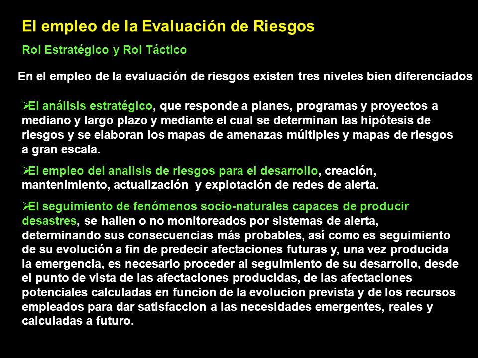 El empleo de la Evaluación de Riesgos Rol Estratégico y Rol Táctico En el empleo de la evaluación de riesgos existen tres niveles bien diferenciados E