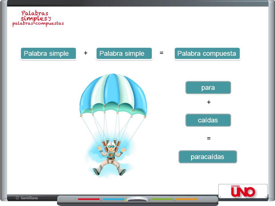 Palabra simple = Palabra compuesta + para caídas + = paracaídas