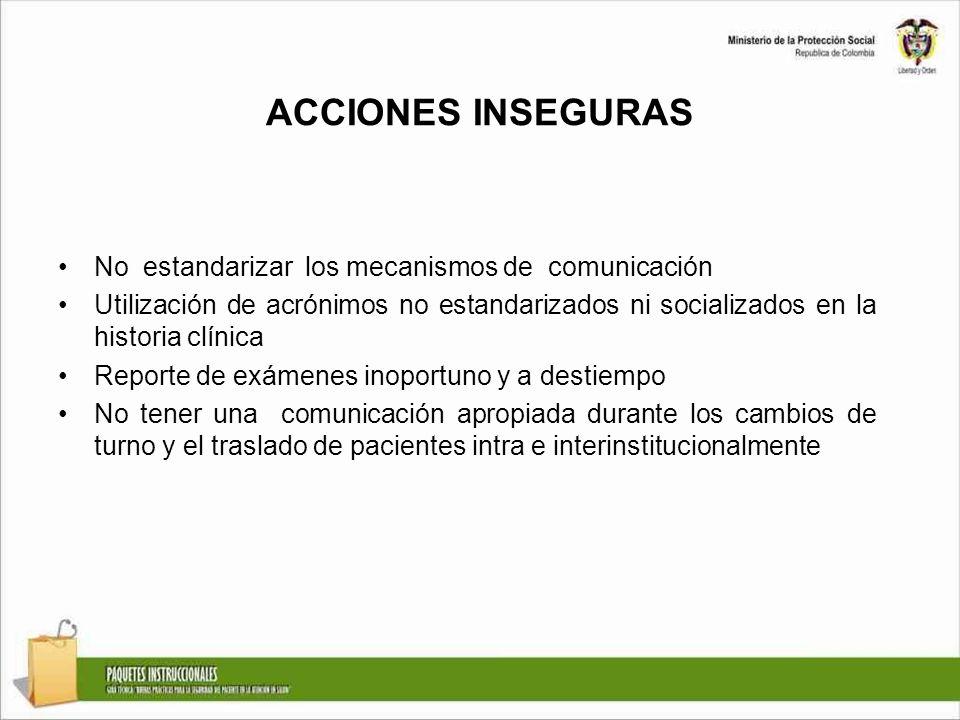 ACCIONES INSEGURAS No estandarizar los mecanismos de comunicación Utilización de acrónimos no estandarizados ni socializados en la historia clínica Re