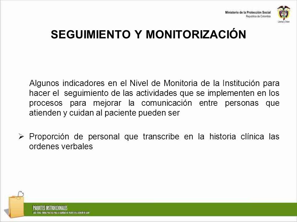 SEGUIMIENTO Y MONITORIZACIÓN Algunos indicadores en el Nivel de Monitoria de la Institución para hacer el seguimiento de las actividades que se implem