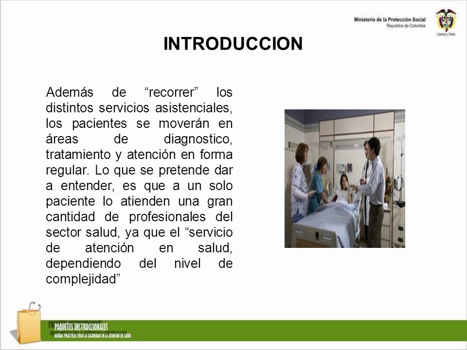 INTRODUCCION Además de recorrer los distintos servicios asistenciales, los pacientes se moverán en áreas de diagnostico, tratamiento y atención en for