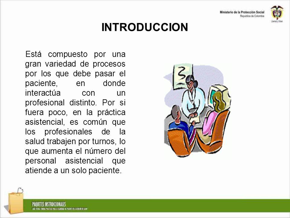 INTRODUCCION Está compuesto por una gran variedad de procesos por los que debe pasar el paciente, en donde interactúa con un profesional distinto. Por