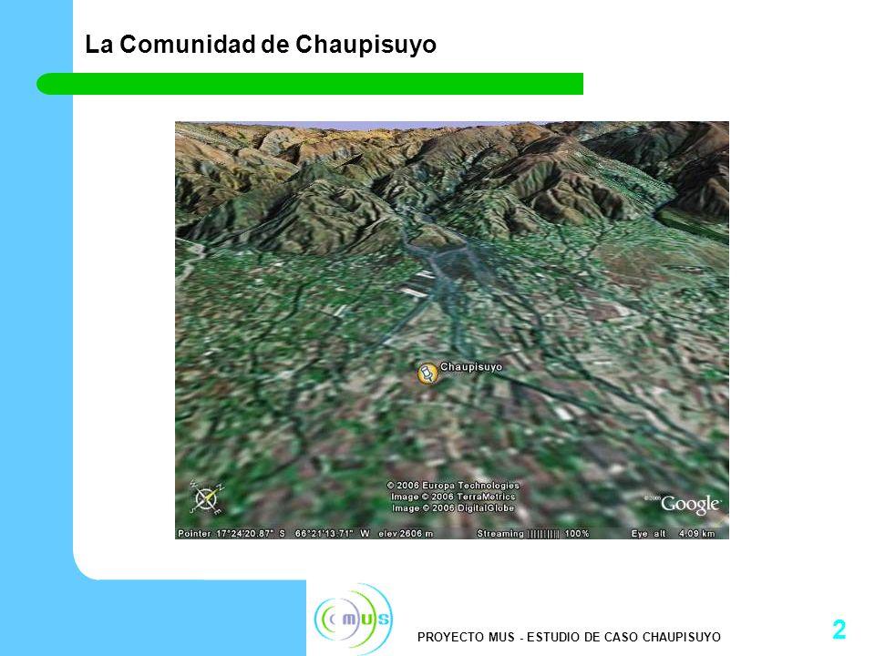 PROYECTO MUS - ESTUDIO DE CASO CHAUPISUYO 3 Introducción a la comunidad de Chaupisuyo Ubicación: Cantón de Sipe Sipe, Provincia de Quillacollo del Departamento de Cochabamba – Bolivia.