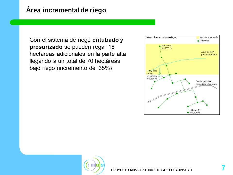 PROYECTO MUS - ESTUDIO DE CASO CHAUPISUYO 8 Ahorro económico Comparando con un sistema de canales abiertos (sin revestir), el sistema entubado y presurizado, ofrece un ahorro de 47% del agua producida que de otra manera se perdería por infiltración y evaporación.