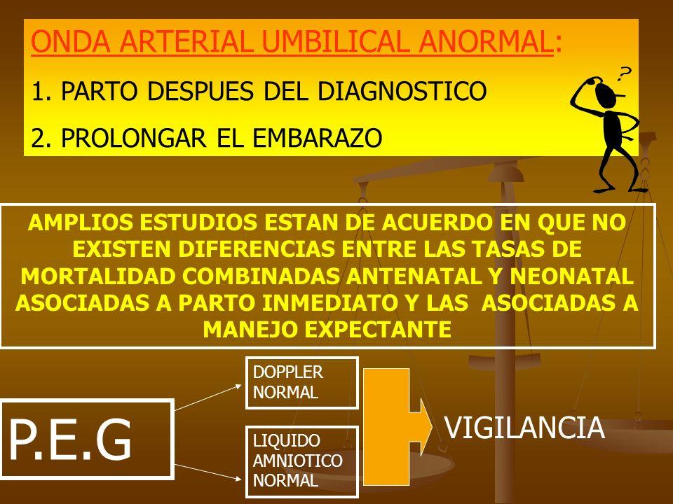 ONDA ARTERIAL UMBILICAL ANORMAL: 1. PARTO DESPUES DEL DIAGNOSTICO 2. PROLONGAR EL EMBARAZO AMPLIOS ESTUDIOS ESTAN DE ACUERDO EN QUE NO EXISTEN DIFEREN