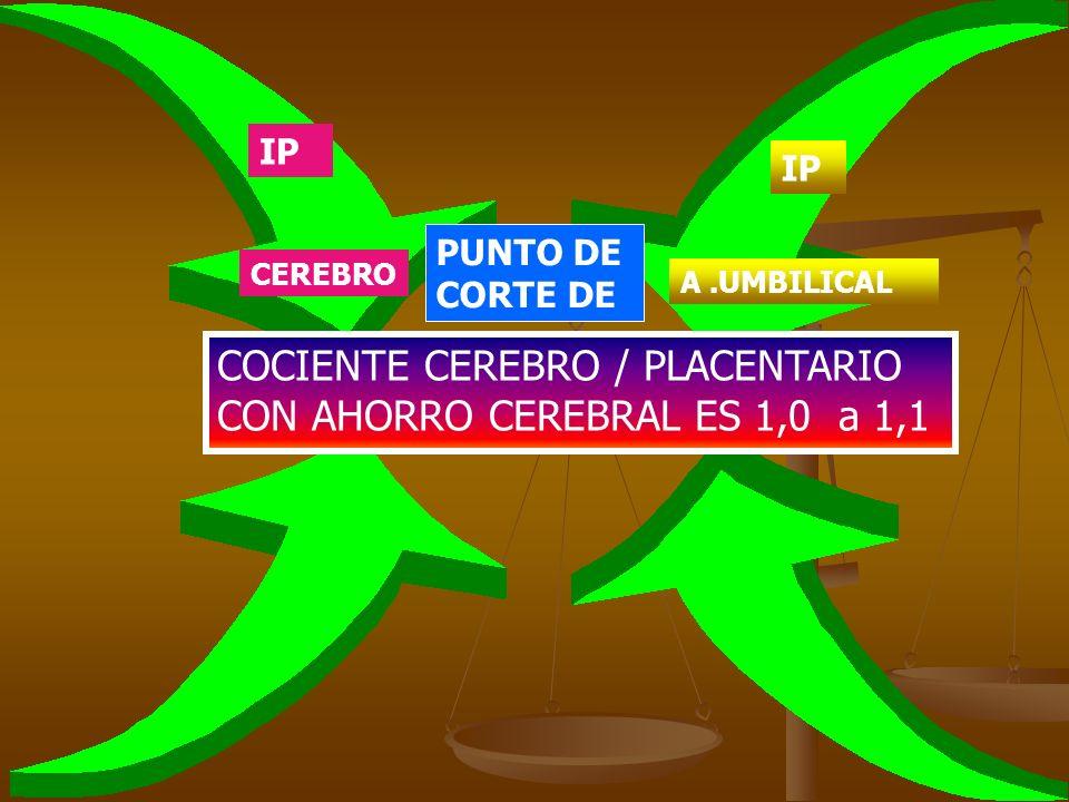 PUNTO DE CORTE DE COCIENTE CEREBRO / PLACENTARIO CON AHORRO CEREBRAL ES 1,0 a 1,1 IP CEREBRO IP A.UMBILICAL