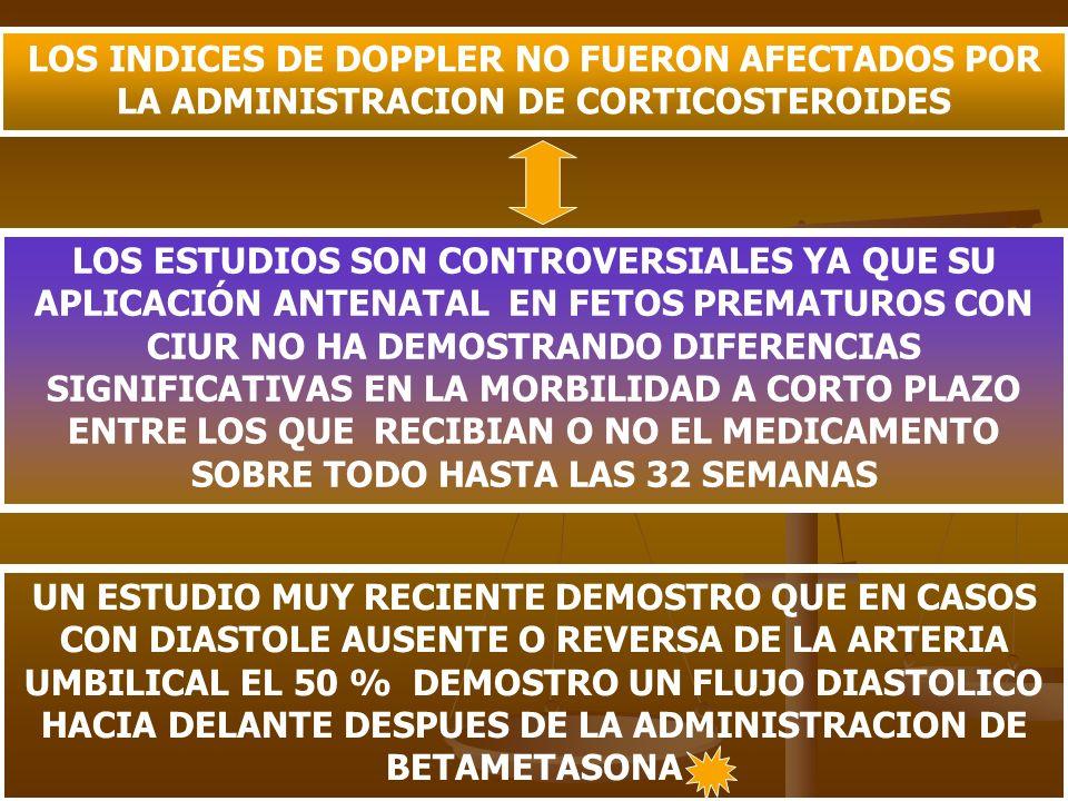 LOS INDICES DE DOPPLER NO FUERON AFECTADOS POR LA ADMINISTRACION DE CORTICOSTEROIDES LOS ESTUDIOS SON CONTROVERSIALES YA QUE SU APLICACIÓN ANTENATAL E