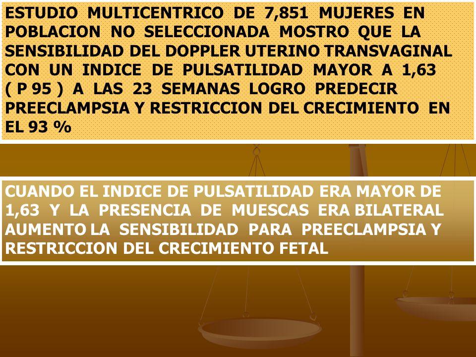 ESTUDIO MULTICENTRICO DE 7,851 MUJERES EN POBLACION NO SELECCIONADA MOSTRO QUE LA SENSIBILIDAD DEL DOPPLER UTERINO TRANSVAGINAL CON UN INDICE DE PULSA