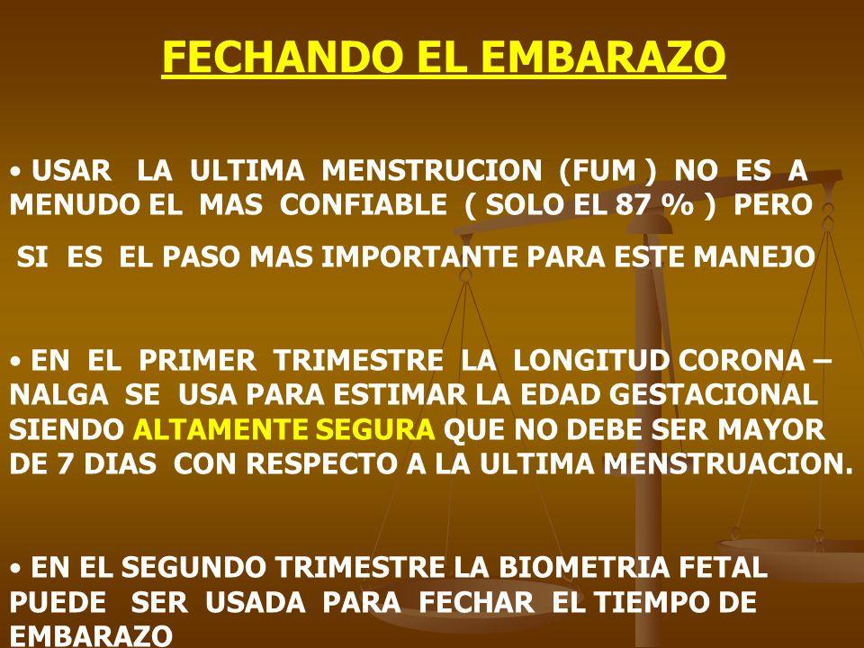 FECHANDO EL EMBARAZO USAR LA ULTIMA MENSTRUCION (FUM ) NO ES A MENUDO EL MAS CONFIABLE ( SOLO EL 87 % ) PERO SI ES EL PASO MAS IMPORTANTE PARA ESTE MA