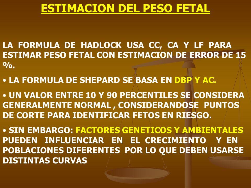 ESTIMACION DEL PESO FETAL LA FORMULA DE HADLOCK USA CC, CA Y LF PARA ESTIMAR PESO FETAL CON ESTIMACION DE ERROR DE 15 %. LA FORMULA DE SHEPARD SE BASA