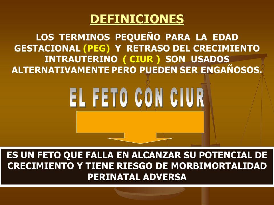 DEFINICIONES LOS TERMINOS PEQUEÑO PARA LA EDAD GESTACIONAL (PEG) Y RETRASO DEL CRECIMIENTO INTRAUTERINO ( CIUR ) SON USADOS ALTERNATIVAMENTE PERO PUED