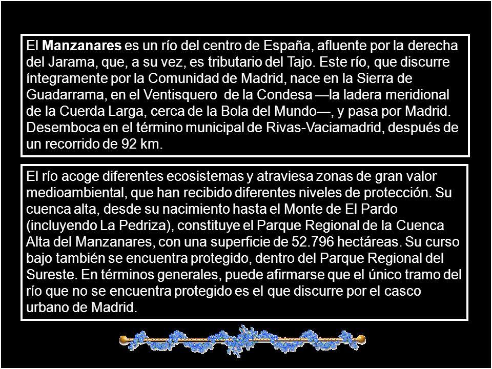 El Manzanares es un río del centro de España, afluente por la derecha del Jarama, que, a su vez, es tributario del Tajo.