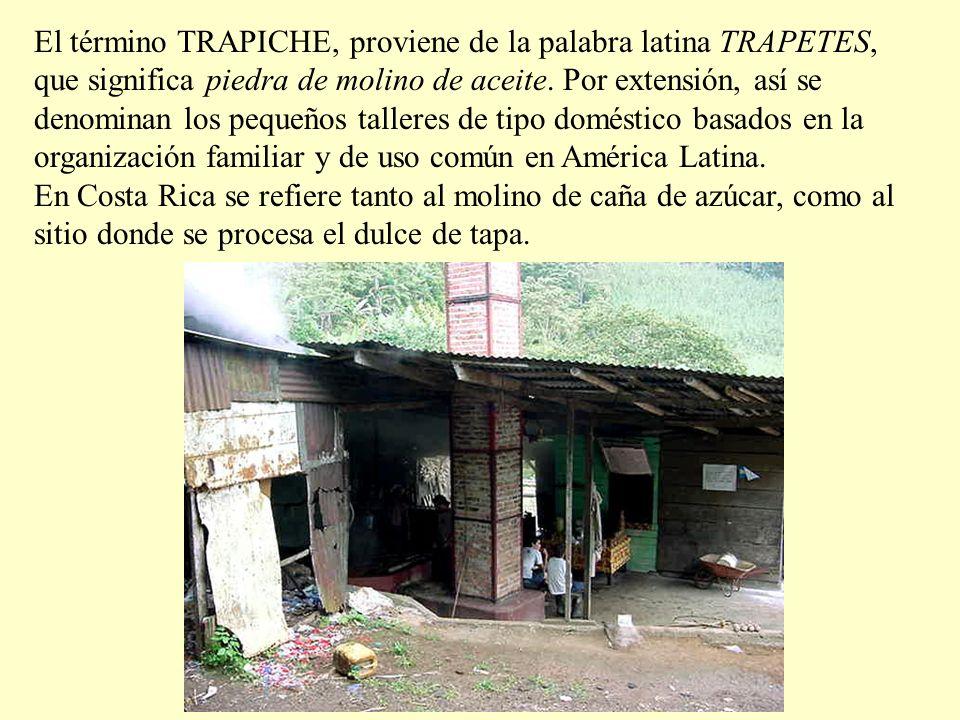 El término TRAPICHE, proviene de la palabra latina TRAPETES, que significa piedra de molino de aceite.