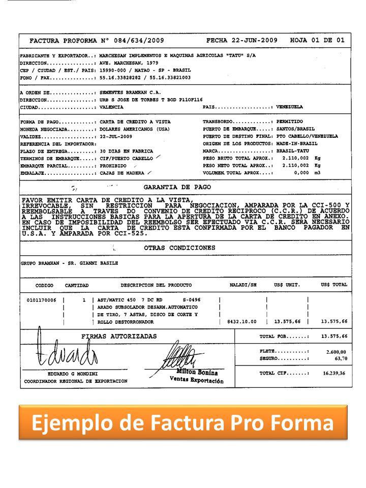 Ejemplo de Factura Pro Forma