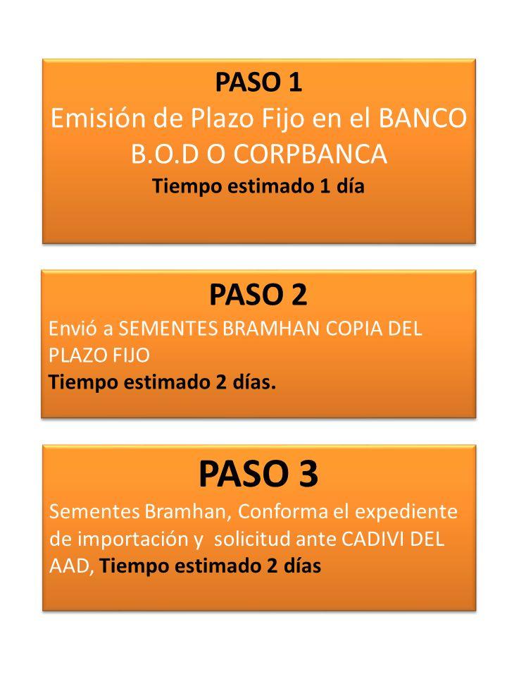 PASO 1 Emisión de Plazo Fijo en el BANCO B.O.D O CORPBANCA Tiempo estimado 1 día PASO 2 Envió a SEMENTES BRAMHAN COPIA DEL PLAZO FIJO Tiempo estimado
